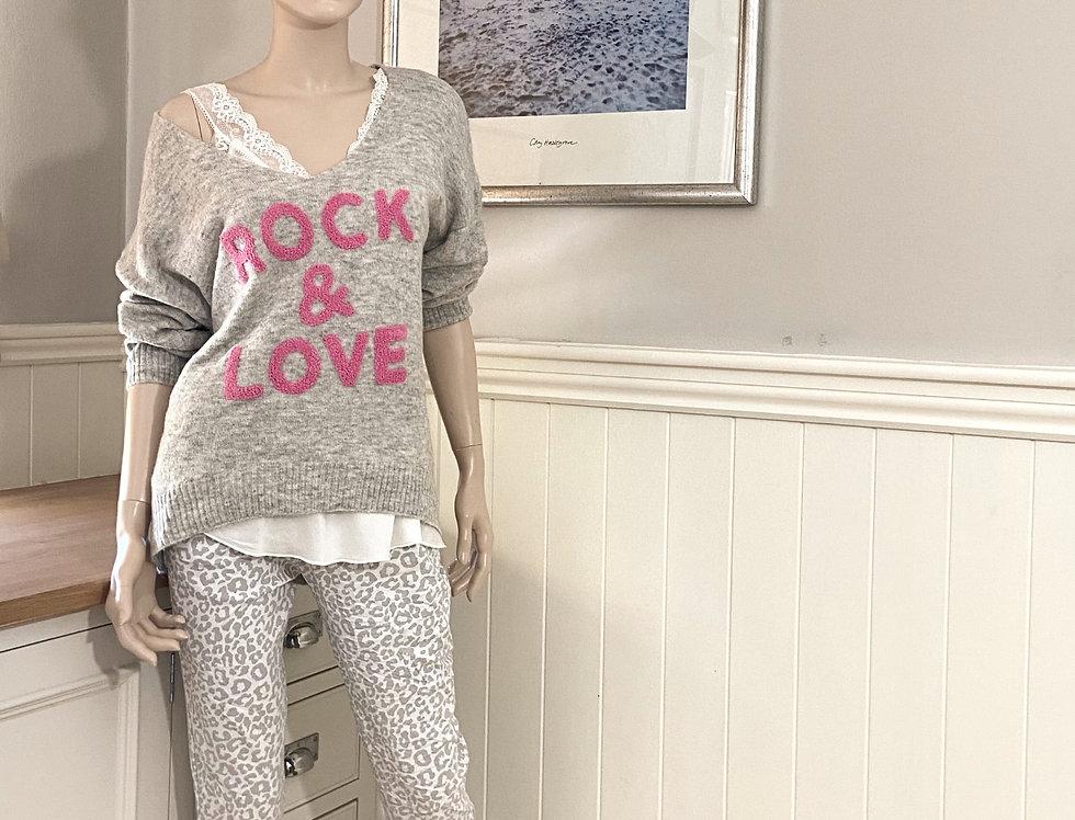 "Poppy Sweater ""Rock & Love"" in Grey and Fuchsia"