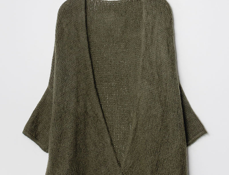 ERIN Knit Cardigan in Dark Green with Silver Star