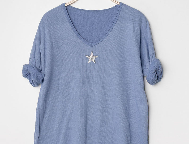 Leah Star Print Sweater in Denim Blue