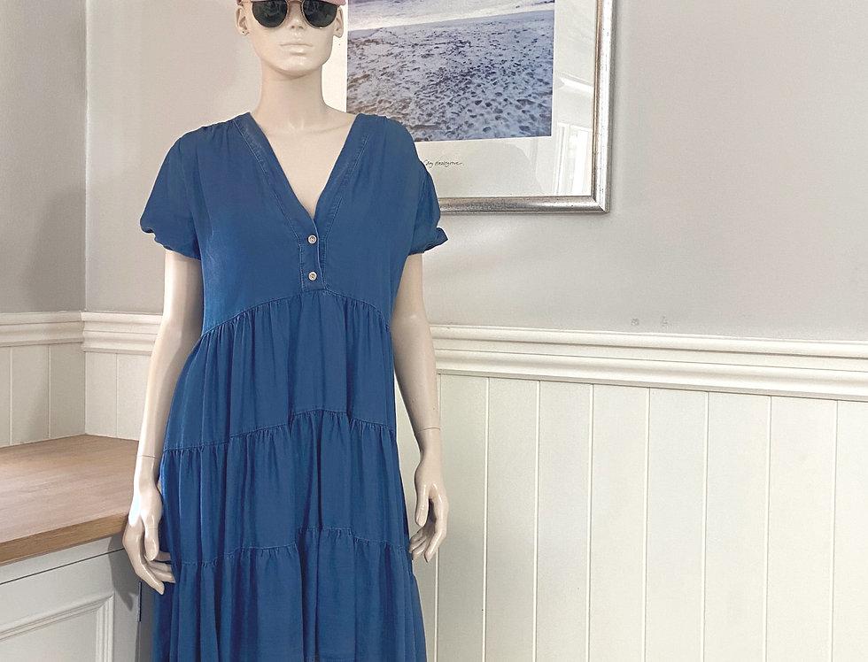 Elli Dark Denim Blue Tiered Dress