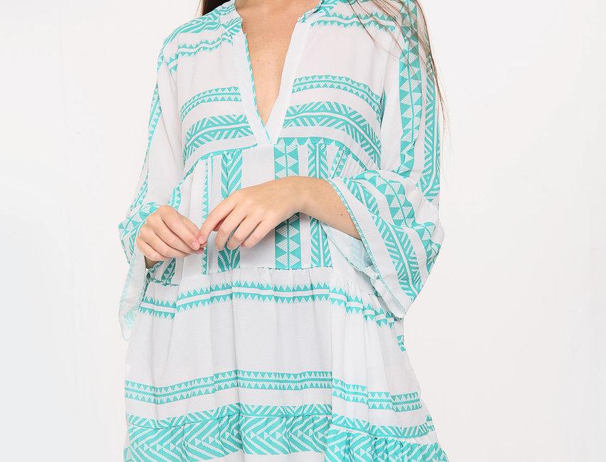 Cora Aztec Dress in Turquoise