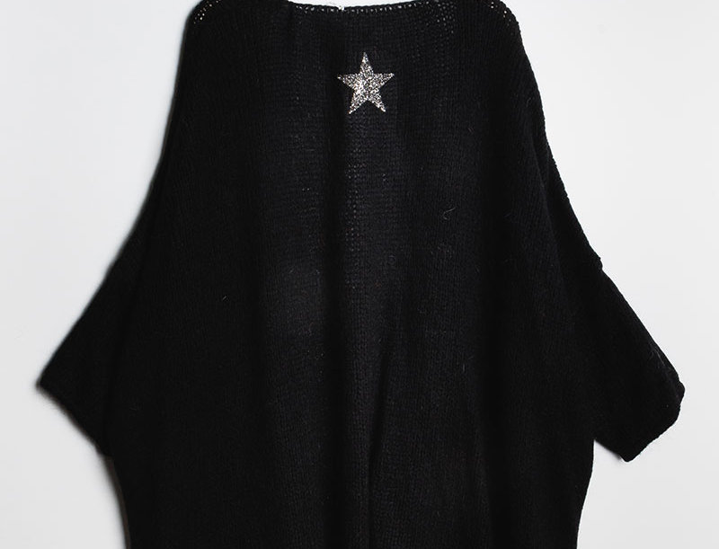 ERIN Knit Cardigan in Black with Silver Star