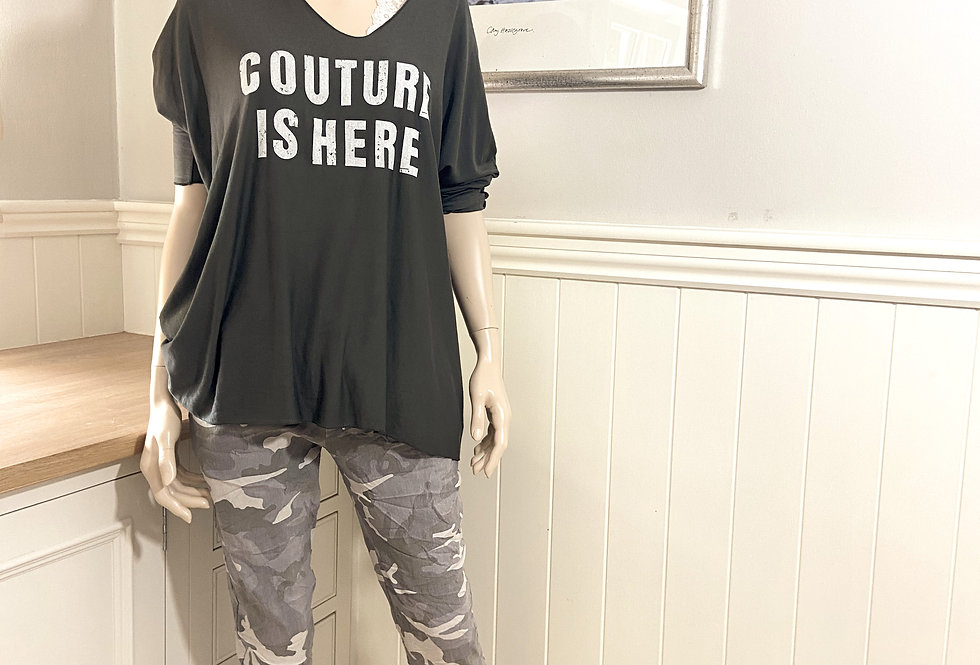 """""""Couture is Here"""" - Long Sleeved Statement T-Shirt in Charcoal Grey"""