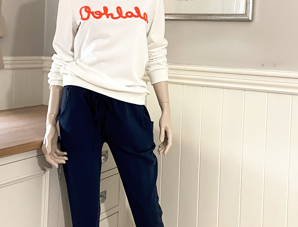 Oohlala Sweatshirt in Weiss mit Orange