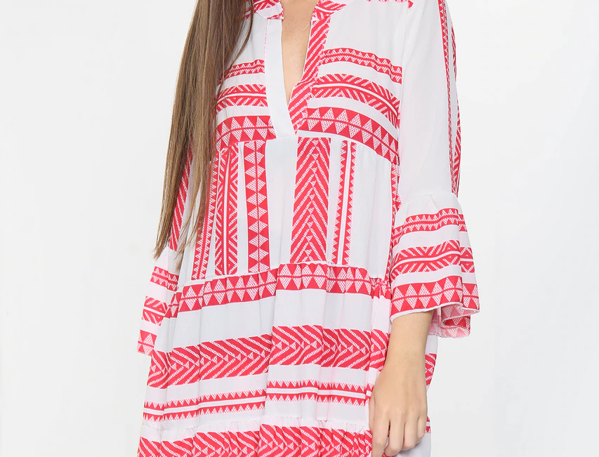 Cora Aztec Dress in Red