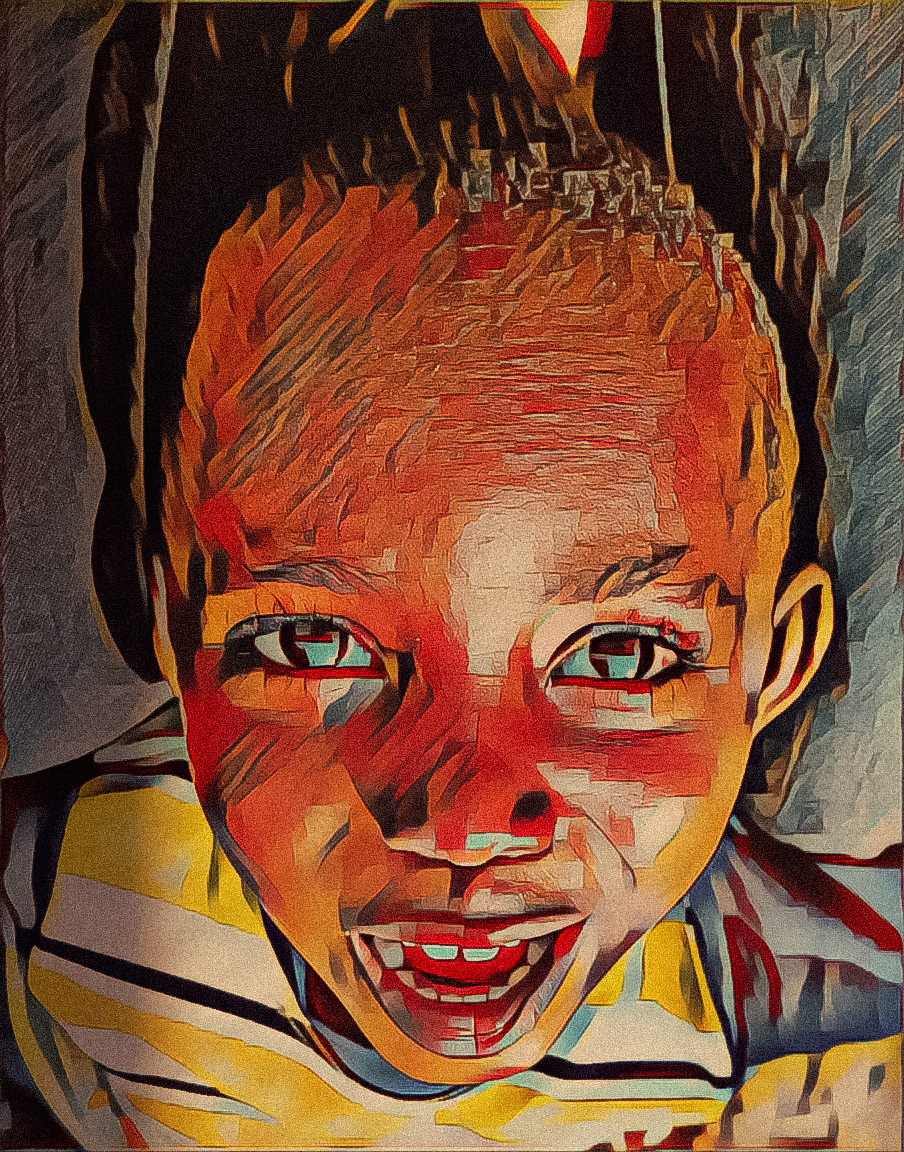 An image of a smiling young boy, teeth exposed with his grin. The image is highly saturated and the colors form small blocks, almost like paintbrush strokes.
