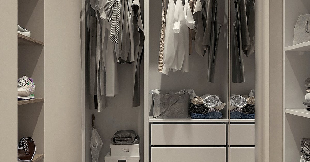 An image of the interior of a closet, mostly in muted colors.