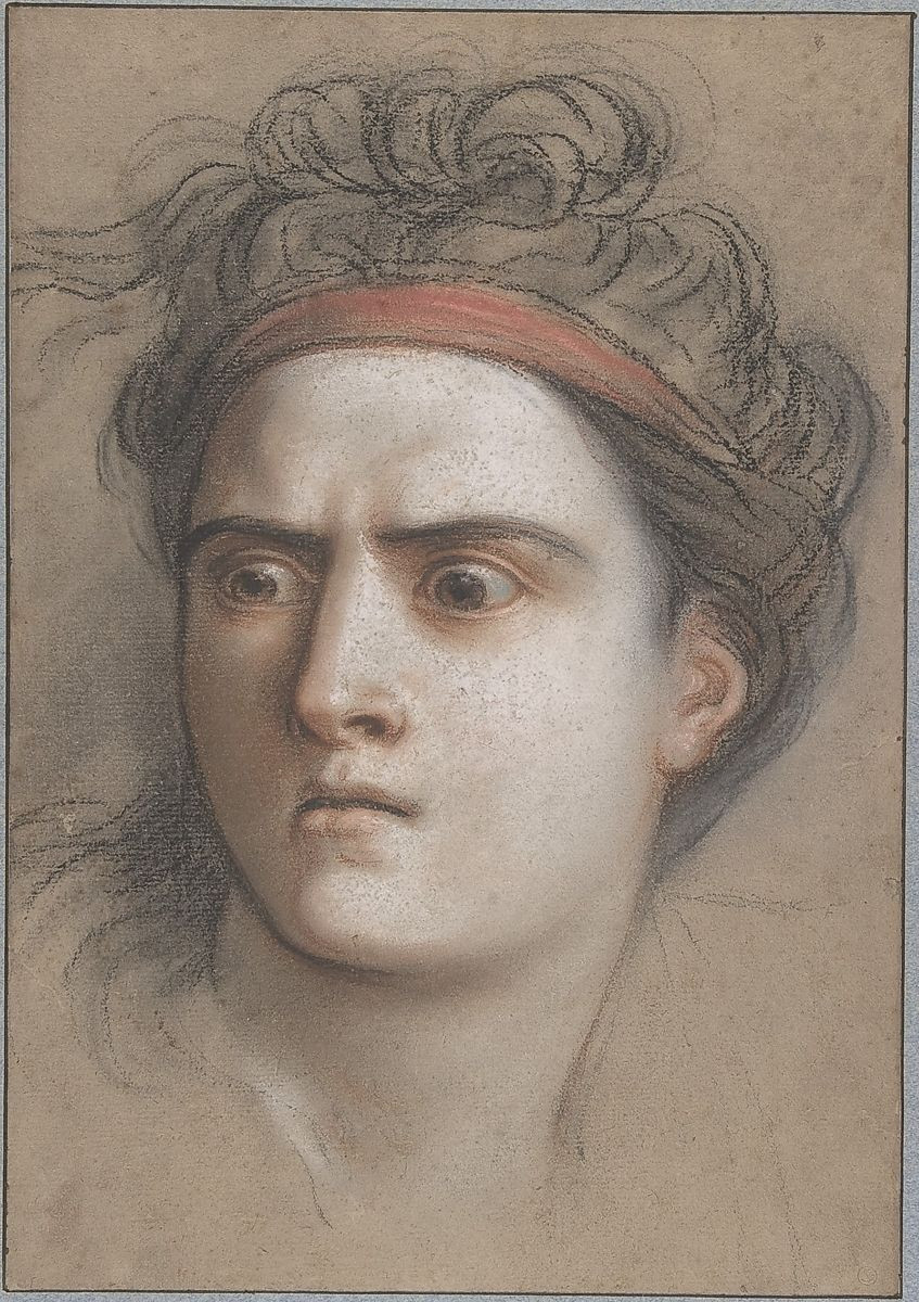 A drawn image of Medea in pastel. She looks off to the side with a furious expression.