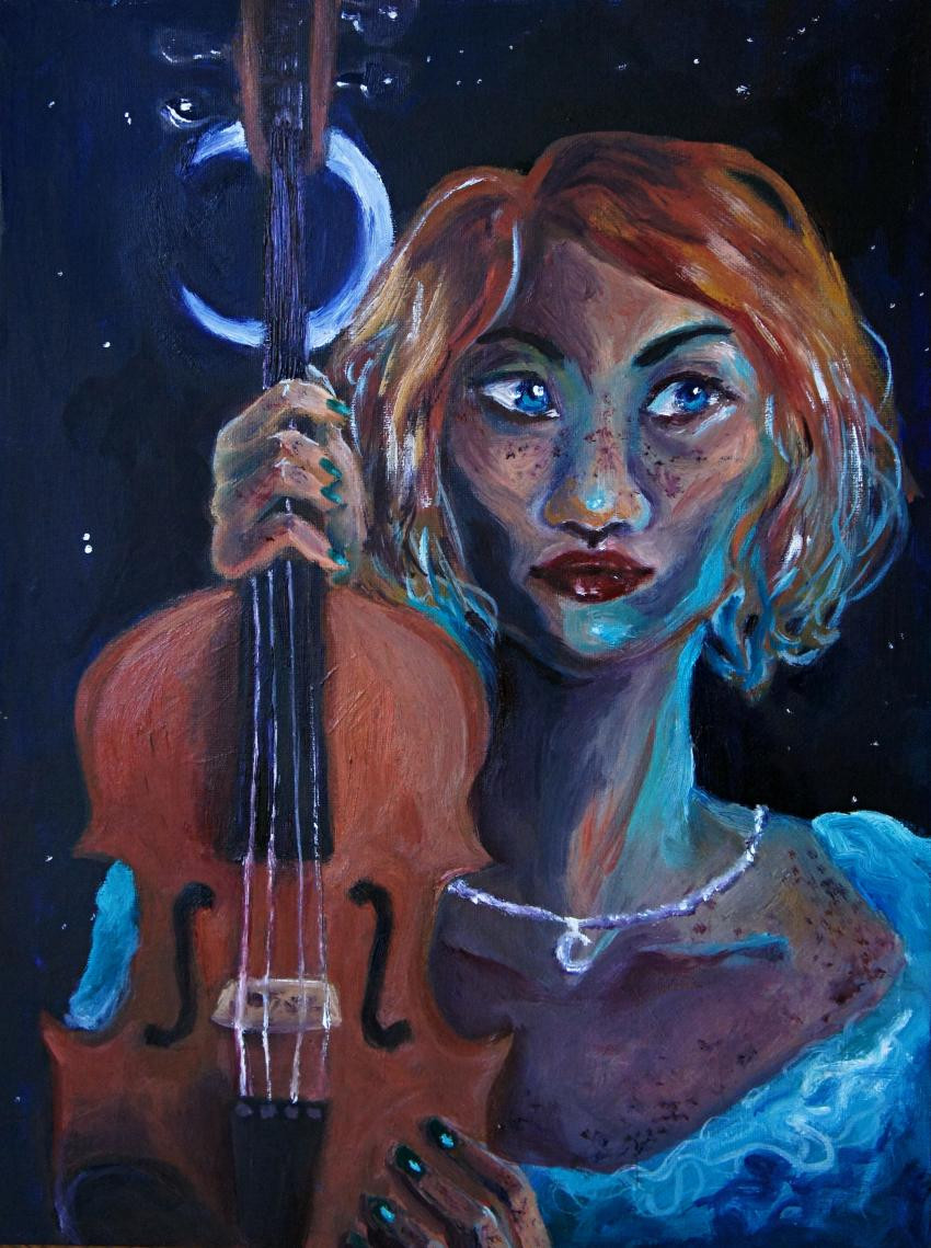 An image done in oil paint of a woman with short red hair. She holds a violin next to her face and wears a low cut blue dress and a silver necklace. The background is illuminated by stars and a crescent moon.