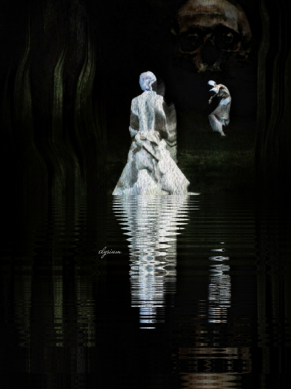 A figure standing in a dark pool, their pale figure reflected in the black water. The sky is black as well, and a skull and another pale figure can be seen in the background.