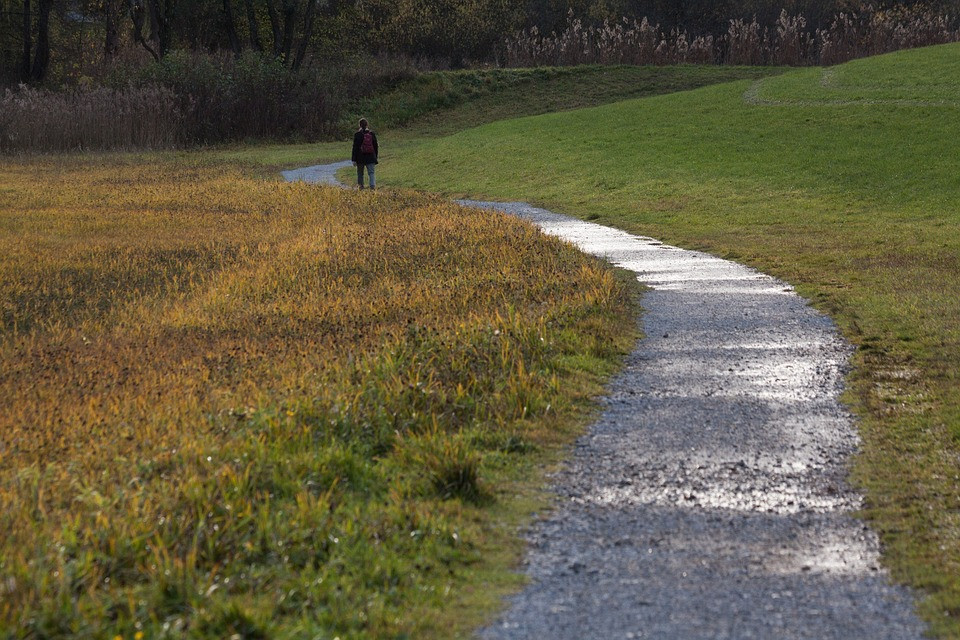 An image of a gravel road going through a field, with one person walking down it. The road curves and eventually fades into the distance, covered by a grassy hill.