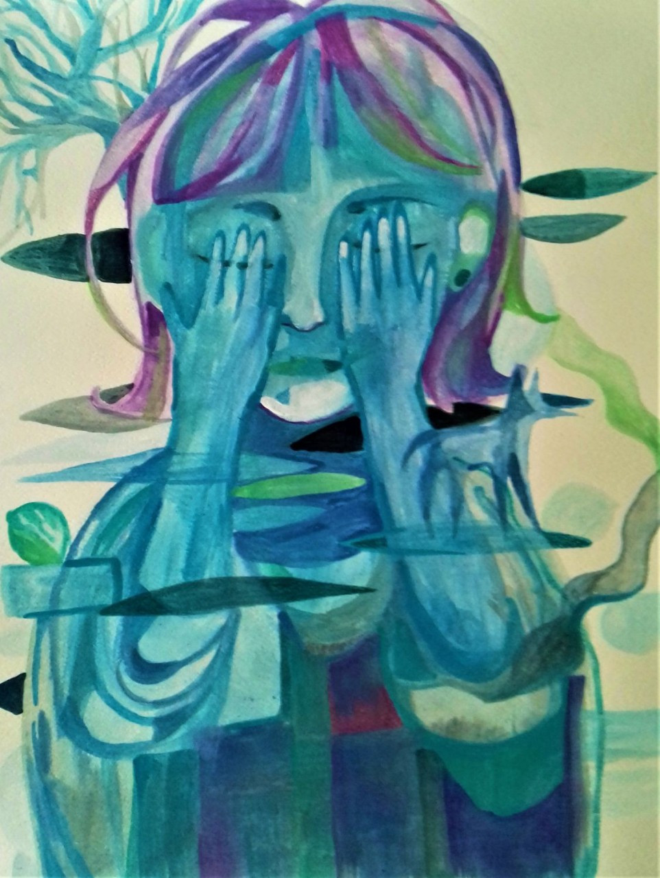 An image painted in watercolor of a person with blue skin and short purple hair, covering their eyes. Shapes and animals can be made out behind and in front of them.