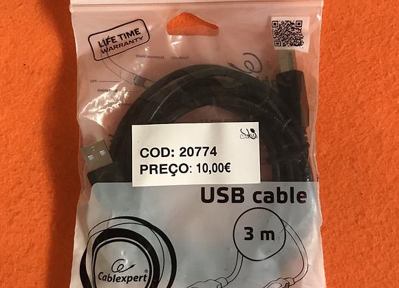 Cabo USB 2.0 A-Plug To B-Plug 3m