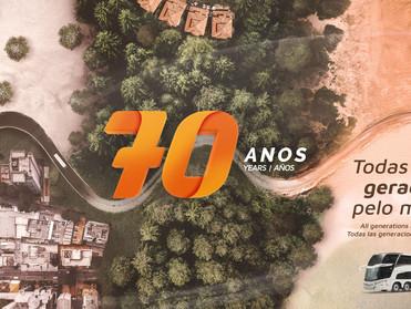 MARCOPOLO LANÇA CAMPANHA TODAS AS GERAÇÕES PELO MUNDO PARA CELEBRAR OS SEUS 70 ANOS