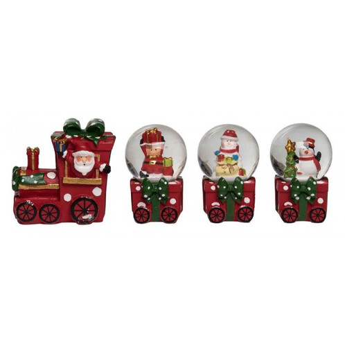 sprinkle christmas spirit throughout your home with fun and festive pieces like this christmas snow globe train set this four piece set includes a figurine