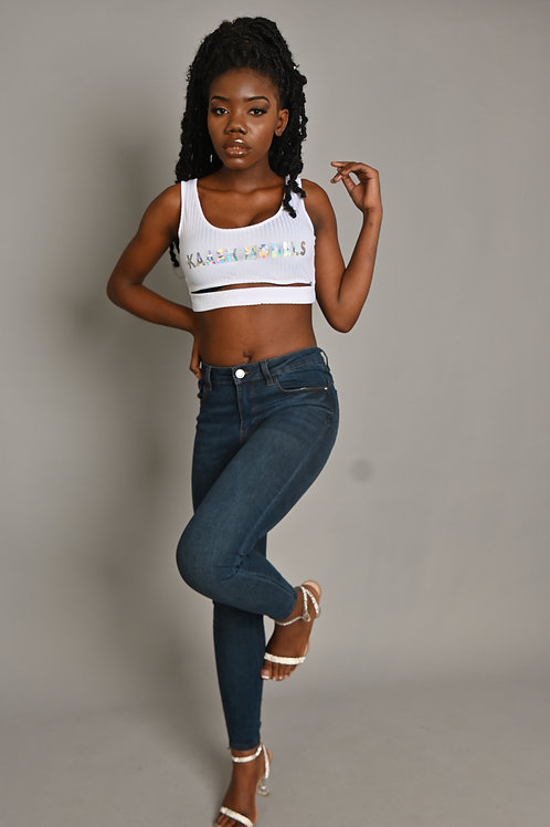 Kaashmodels Front Cut Crop Top- White