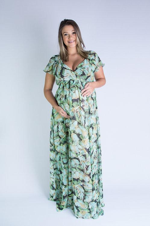 Vestido Longo de Chifon folhas