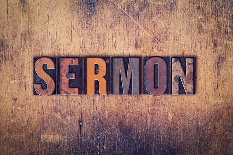 "The word ""Sermon"" written in dirty vinta"
