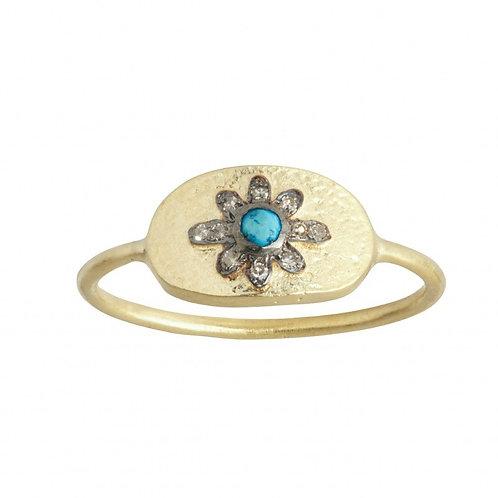 Bague Gypsy - turquoise & diamant I 5 Octobre