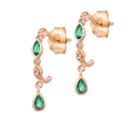 Boucles d'oreille Emeraude et Diamants