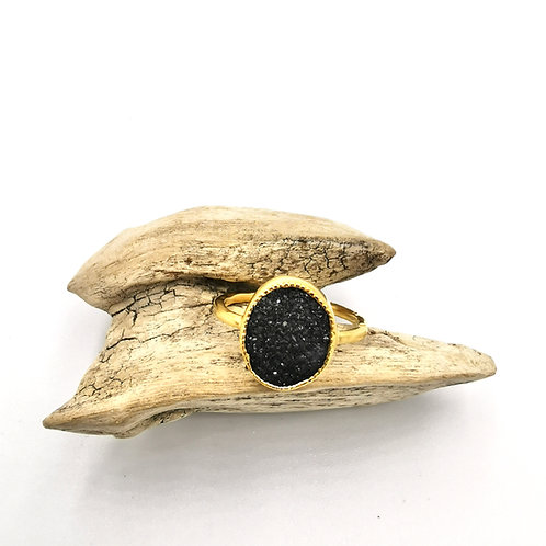Bague KARA - vermeil / druzy agate noire-  I HANKA ÏN