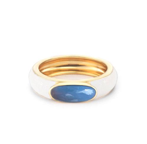 Bague blanche LOULOU - opale bleue - I DOROTHÉE SAUSSET
