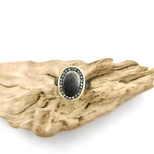 Bague ALEX BLACK - or, argent vieilli & diamants - I 5 Octobre