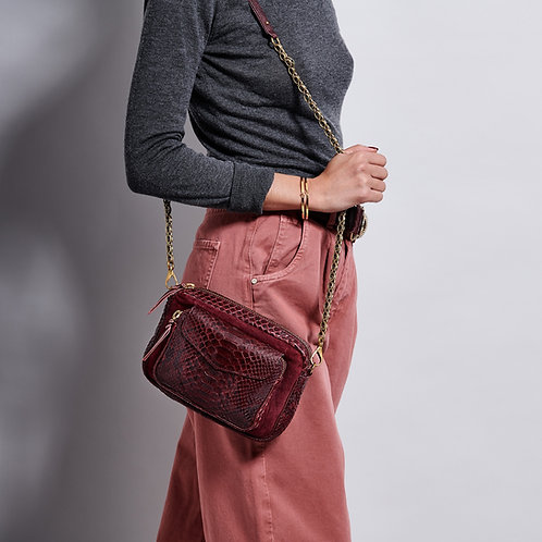 Sac Python Charly Bordeaux Suede