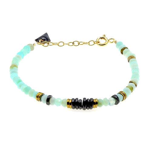 Bracelet Puka Opale et Onyx