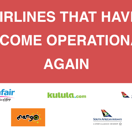 AIRLINES THAT HAVE BECOME OPERATIONAL AGAIN