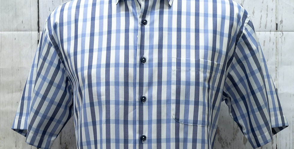 Multi-Checked Short-Sleeve Shirt, Egyptian Cotton