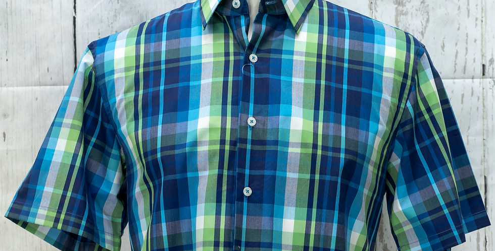 Multi-Checked Short-Sleeve Shirt, Egyptian Cotton