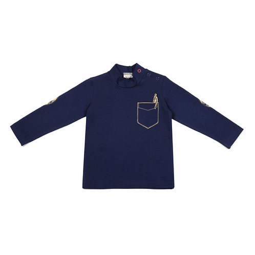 Navy Long Sleeve Turtleneck with a Pocket