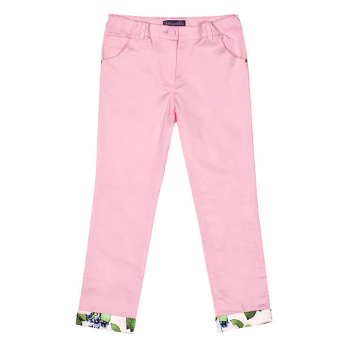 Pink Pants with Satin Pink Rose Print Cuffs