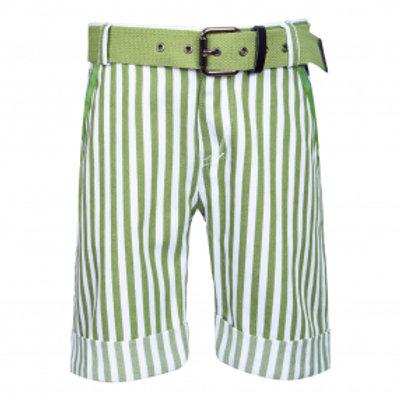 Stripe Green Shorts with Belt