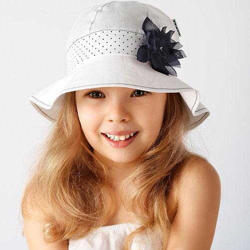 White Summer Hat w/Navy Polka Dot Strip & Flower