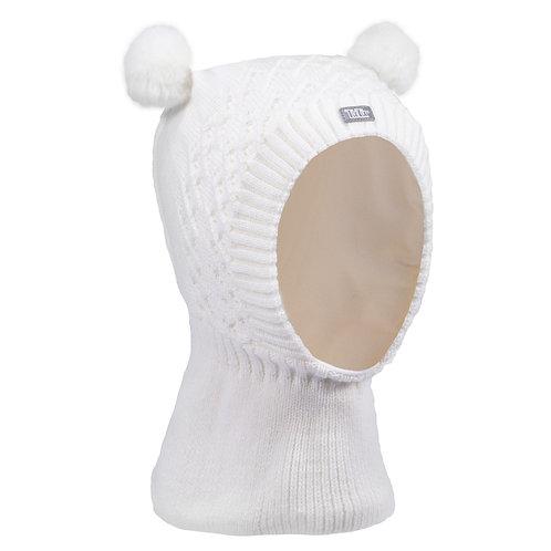 Ivory w/2 Pom Poms Girls Knit Pullover Hat