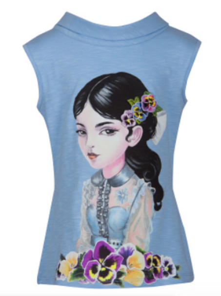Brunette with Flowers Fashion Top