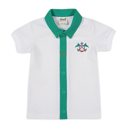 Cotton Golfer Polo T-Shirt with a Green Collar