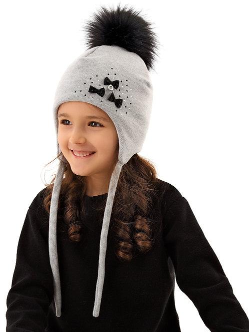 Grey Winter Hat w/black bows and pom pom