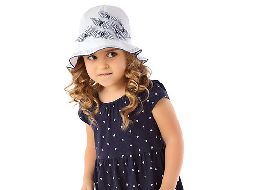White with Blue Bows Summer Hat