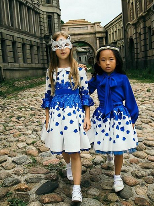 White Blue Rose Puffy Dress