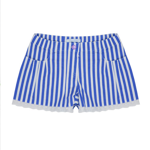 Blue/White Stripe Shorts with Lace & Belt