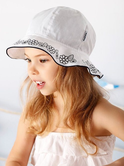 White Summer Hat w/Navy Flowers with Leaves