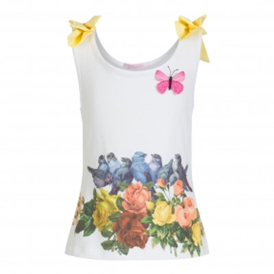 White Flower Top with Yellow Bows