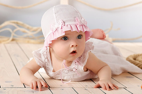 Pink Polka Dot Summer Hat with a Bow