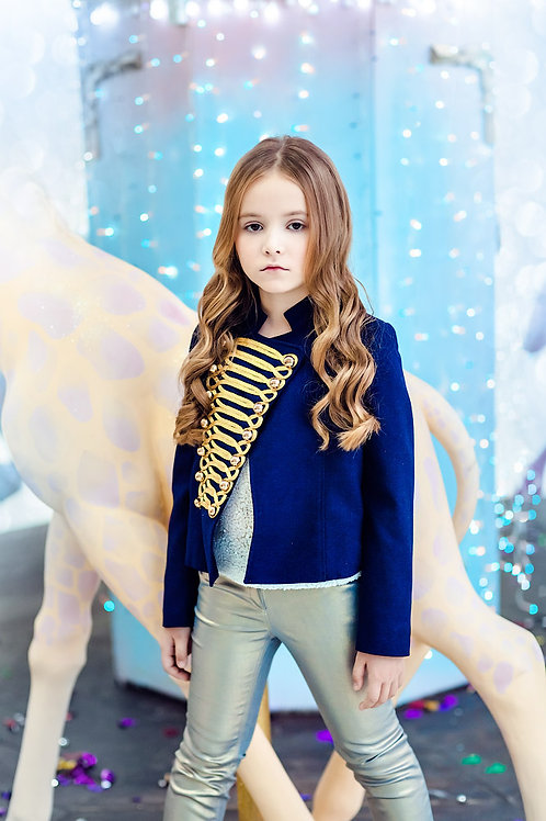 Navy Jacket with Gold Embroidery