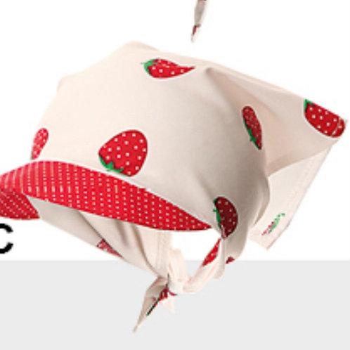 Strawberries White Tie On Hat for Girls