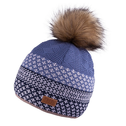Blue Unisex Knit Hat with Pullover Scarf