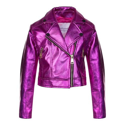 Metallic Fuschia Eco Leather Jacket